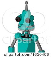 Greenish Robot With Cone Head And Speakers Mouth And Red Eyed And Single Antenna