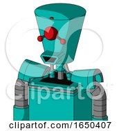 Greenish Robot With Cylinder Conic Head And Happy Mouth And Cyclops Compound Eyes