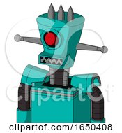 Greenish Robot With Cylinder Conic Head And Square Mouth And Cyclops Eye And Three Spiked