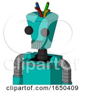Greenish Robot With Cylinder Conic Head And Vent Mouth And Two Eyes And Wire Hair