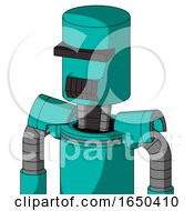 Greenish Robot With Cylinder Head And Dark Tooth Mouth And Black Visor Cyclops