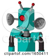 Greenish Robot With Cylinder Head And Pipes Mouth And Cyclops Eye And Double Led Antenna