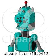 Greenish Robot With Dome Head And Pipes Mouth And Bug Eyes And Single Led Antenna