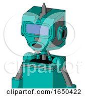 Greenish Robot With Mechanical Head And Round Mouth And Large Blue Visor Eye And Spike Tip