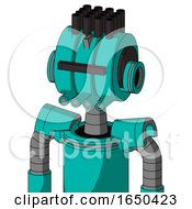 Greenish Robot With Multi Toroid Head And Pipes Mouth And Black Visor Cyclops And Pipe Hair