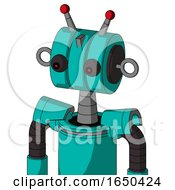 Greenish Robot With Multi Toroid Head And Red Eyed And Double Led Antenna