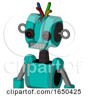 Greenish Robot With Multi Toroid Head And Square Mouth And Black Glowing Red Eyes And Wire Hair