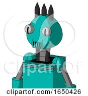 Greenish Robot With Rounded Head And Speakers Mouth And Two Eyes And Three Dark Spikes