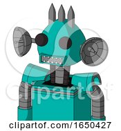 Greenish Robot With Rounded Head And Square Mouth And Two Eyes And Three Spiked