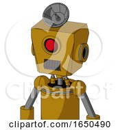 Dark Yellow Automaton With Box Head And Dark Tooth Mouth And Cyclops Eye And Radar Dish Hat