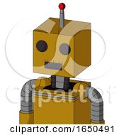Dark Yellow Automaton With Box Head And Dark Tooth Mouth And Two Eyes And Single Led Antenna