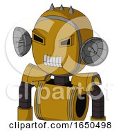 Dark Yellow Automaton With Bubble Head And Teeth Mouth And Angry Eyes And Three Spiked