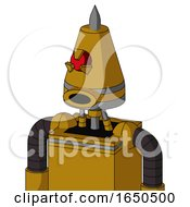 Dark Yellow Automaton With Cone Head And Round Mouth And Angry Cyclops Eye And Spike Tip