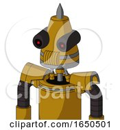 Dark Yellow Automaton With Cone Head And Speakers Mouth And Black Glowing Red Eyes And Spike Tip