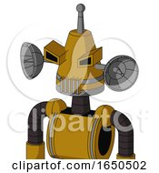Dark Yellow Automaton With Cone Head And Vent Mouth And Angry Eyes And Single Antenna