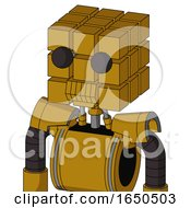 Dark Yellow Automaton With Cube Head And Toothy Mouth And Two Eyes