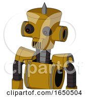 Dark Yellow Automaton With Cylinder Conic Head And Speakers Mouth And Red Eyed And Spike Tip
