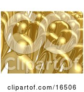 Group Of Gold Men Standing In Rows During A Meeting Clipart Illustration Graphic