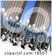 Crowd Of Businessmen Standing Together In Front Of Tall Office Building Skyscrapers Symbolizing Teamwork Or Cloning Clipart Illustration Graphic