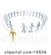 Gold Person Walking Away From A Circle Of Silver People Symbolizing Different Beliefs Quitting Or Being Fired