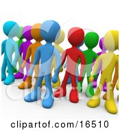 Crowd Of Diverse And Different Colored People Standing In A Group Clipart Illustration Graphic