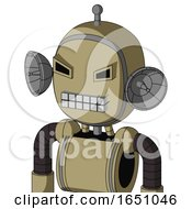 Army Tan Automaton With Bubble Head And Keyboard Mouth And Angry Eyes And Single Antenna