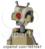 Army Tan Automaton With Droid Head And Dark Tooth Mouth And Cyclops Eye And Double Antenna
