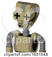 Army Tan Automaton With Droid Head And Happy Mouth And Plus Sign Eyes