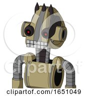 Army Tan Automaton With Droid Head And Keyboard Mouth And Black Glowing Red Eyes And Three Dark Spikes