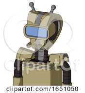 Army Tan Automaton With Droid Head And Pipes Mouth And Large Blue Visor Eye And Double Antenna