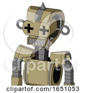 Army Tan Automaton With Droid Head And Square Mouth And Plus Sign Eyes And Spike Tip