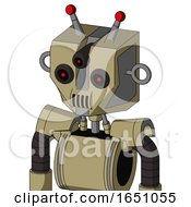 Army Tan Automaton With Mechanical Head And Speakers Mouth And Three Eyed And Double Led Antenna