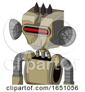 Army Tan Automaton With Mechanical Head And Speakers Mouth And Visor Eye And Three Dark Spikes