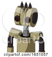 Army Tan Automaton With Multi Toroid Head And Black Glowing Red Eyes And Three Dark Spikes