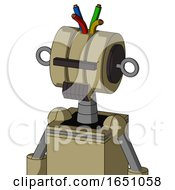 Army Tan Automaton With Multi Toroid Head And Dark Tooth Mouth And Black Visor Cyclops And Wire Hair