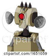 Army Tan Automaton With Multi Toroid Head And Speakers Mouth And Cyclops Eye And Three Dark Spikes