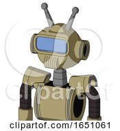 Army Tan Automaton With Rounded Head And Speakers Mouth And Large Blue Visor Eye And Double Antenna