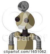 Army Tan Automaton With Rounded Head And Teeth Mouth And Red Eyed And Radar Dish Hat