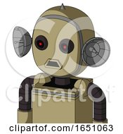 Army Tan Automaton With Bubble Head And Sad Mouth And Black Glowing Red Eyes And Spike Tip