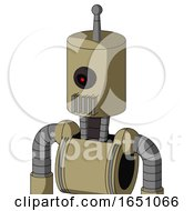 Army Tan Automaton With Cylinder Head And Vent Mouth And Black Cyclops Eye And Single Antenna
