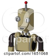 Army Tan Automaton With Cylinder Head And Happy Mouth And Two Eyes And Single Led Antenna