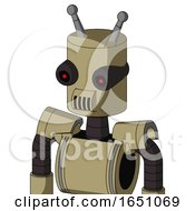 Army Tan Automaton With Cylinder Head And Speakers Mouth And Black Glowing Red Eyes And Double Antenna