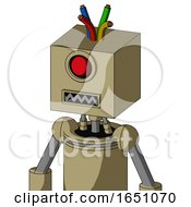 Army Tan Automaton With Box Head And Square Mouth And Cyclops Eye And Wire Hair