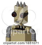 Army Tan Automaton With Cylinder Head And Happy Mouth And Black Glowing Red Eyes And Three Spiked