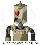 Army Tan Automaton With Cylinder Head And Dark Tooth Mouth And Angry Cyclops And Spike Tip