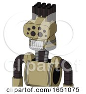 Army Tan Automaton With Cone Head And Teeth Mouth And Bug Eyes And Pipe Hair