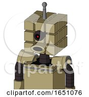 Army Tan Automaton With Cube Head And Round Mouth And Black Cyclops Eye And Single Antenna