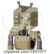 Army Tan Automaton With Cube Head And Speakers Mouth And Two Eyes And Double Antenna