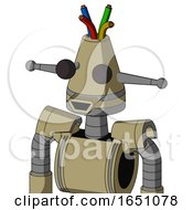 Army Tan Automaton With Cone Head And Happy Mouth And Two Eyes And Wire Hair