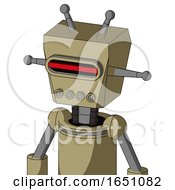 Army Tan Automaton With Box Head And Pipes Mouth And Visor Eye And Double Antenna